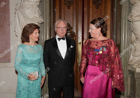 Queen Silvia King and King Carl Gustaf with Birgit Nilsson Prize laureate opera singer Nina Stemme at the Royal Opera in Stockholm, Sweden, 11 October 2018.