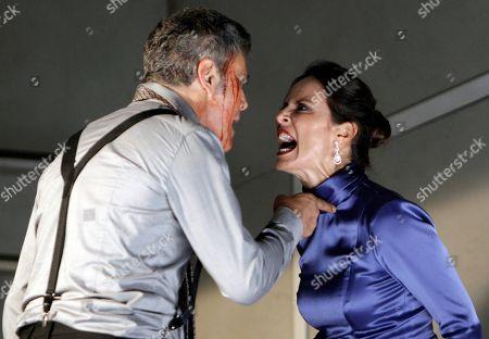 Spanish actress Aitana Sanchez-Gijon (R) and actor Roberto Enriquez perform during the rehearsal of 'La vuelta de Nora' at Teatro Principal de Alicante in Alicante, 11 October 2018. The play premieres next 13 October 2018.