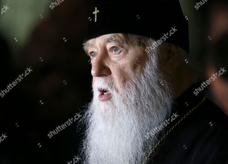 Patriarch Filaret, head of the Ukrainian Orthodox Church of the Kiev Patriarchate, speaks during a news briefing in Kiev, Ukraine, . The Istanbul-based Ecumenical Patriarchate says it will move forward with its decision to grant Ukrainian clerics independence from the Russian Orthodox Church
