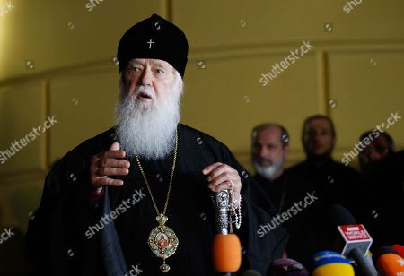 The Ukrainian Orthodox Church of Kiev's Patriarchy Patriarch Filaret speaks during a press conference in Kiev, Ukraine, 11 October 2018. The Ecumenical Patriarchate continues the procedure of granting autocephaly to the Ukrainian Orthodox Church, as stated in the decision made at the meeting of the Synod of the Ecumenical Patriarchate, published on the Patriarchate's website. The Holy Synod also appeals to all sides involved that they avoid appropriation of Churches, Monasteries and other properties, as well as every other act of violence and retaliation.