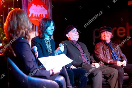Stock Picture of Bobby Gillespie, Andrew Innes and Martin Duffy of Primal Scream in conversation with Colleen 'Cosmo' Murphy