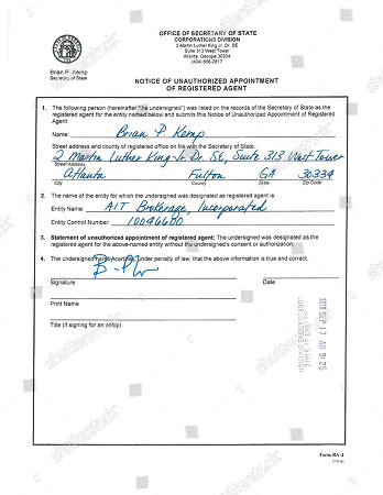 """This image from a document downloaded from the Georgia Secretary of State website shows a form to remove Secretary of State Brian Kemp as the """"registered agent"""" from a company he has no affiliation with. The Associated Press has found that the Republican gubernatorial candidate, running in large part on his record as secretary of state, has for years been incorrectly listed in the records of his own office as the registered agent for multiple companies"""