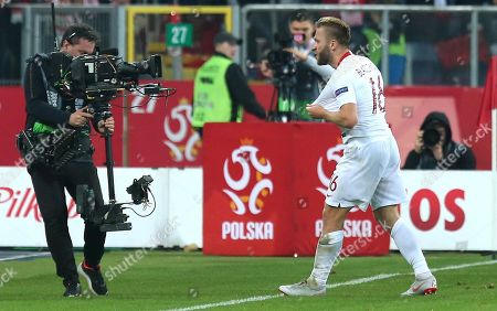 Poland's Jakub Blaszczykowski celebrates after scoring a goal during the UEFA Nations League soccer match between Poland and Portugal, in Chorzow, Poland, 11 October 2018.