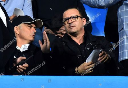 Manchester United's manager Jose Mourinho, left, speaks with Montenegrin ex soccer player Predrag Mijatovic prior the UEFA Nations League soccer match between Montenegro and Serbia at the City stadium in Podgorica, Montenegro