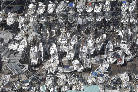 Dozens of boats are scattered along the ground in the aftermath of Hurricane Michael as the storm left a swath of destruction across the Panhandle region of Florida area October 11, 2018 near Panama City, Florida. The Category 4 monster storm killed at least 6 people ad left behind catastrophic damage along northwestern Florida.