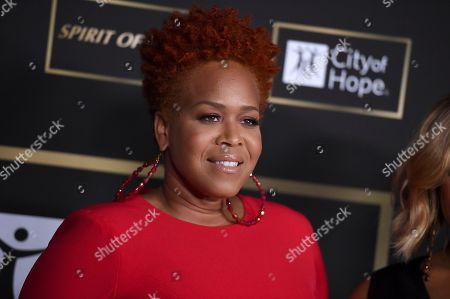 Tina Campbell, of Mary Mary, arrives at the City of Hope Gala, at the Barker Hangar in Santa Monica, Calif
