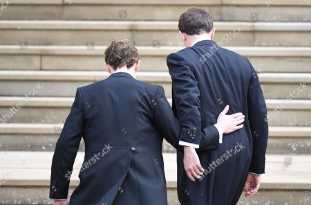 Jack Brooksbank (R) arrives with his best man and brother Thomas Brooksbank for his royal wedding ceremony to Princess Eugenie of York at St George's Chapel at Windsor Castle, in Windsor, Britain, 12 October 2018.