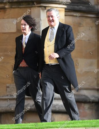 Elliott Spencer (L) and Stephen Fry for the royal wedding ceremony of Princess Eugenie of York and Jack Brooksbank at St George's Chapel at Windsor Castle, in Windsor, Britain, 12 October 2018.