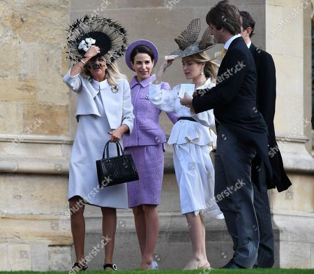 Prince Ernst August of Hanover, Jr. wife Ekaterina (2-R) and Caroline Sieber (2-L) arrive for the royal wedding ceremony of Princess Eugenie of York and Jack Brooksbank at St George's Chapel at Windsor Castle, in Windsor, Britain, 12 October 2018.