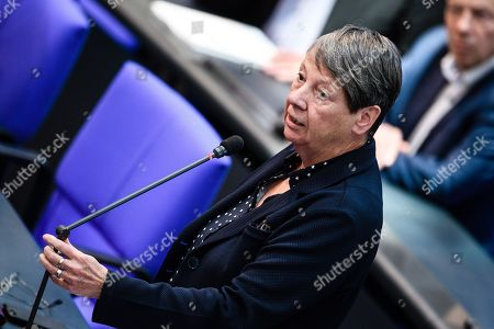 Member of Parliament of the Social Democratic Party (SPD) Barbara Hendricks reacts to the speech of AfD member of Parliament Uwe Witt (not in the picture) during a session of the German parliament 'Bundestag' in Berlin, Germany, 12 October 2018. The Bundestag discusses, amongst other topics, the stabilization and improvement of the statutory pension insurance.