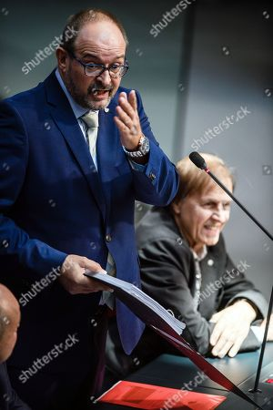 Member of Parliament of the Alternative fuer Deutschland party (AfD) Uwe Witt reacts to the words of Member of Parliament of the SPD Barbara Hendricks (not in the picture) during a session of the German parliament 'Bundestag' in Berlin, Germany, 12 October 2018. The Bundestag discusses, amongst other topics, the stabilization and improvement of the statutory pension insurance.