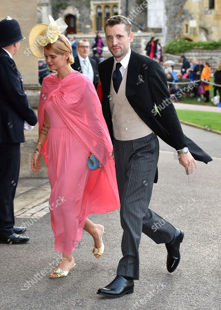 Pixie Geldof and George Barnett arrive for the wedding of Princess Eugenie and Jack Brooksbank at St George's Chapel, Windsor Castle, near London, England