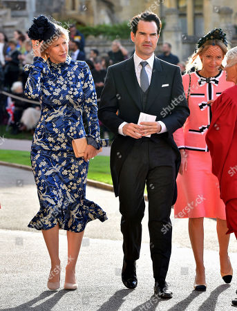 Jimmy Carr and Karoline Copping arrive for the wedding of Princess Eugenie of York and Jack Brooksbank at St George's Chapel, Windsor Castle, near London, England