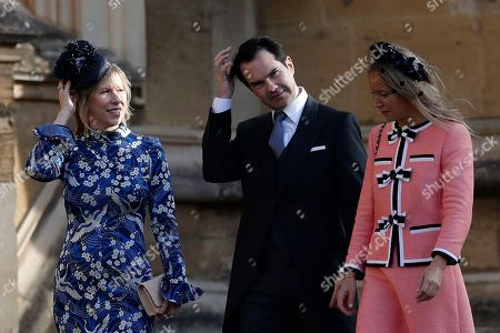 Jimmy Carr and Karoline Copping, left, arrive for the wedding of Princess Eugenie of York and Jack Brooksbank at St George's Chapel, Windsor Castle, near London, England