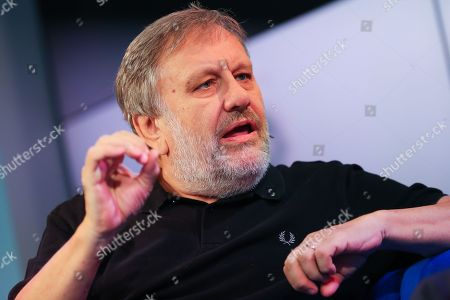 Stock Picture of Slovenian philosopher Slavoj Zizek speaks at the authors' forum 'Blue Sofa' during the book fair 'Frankfurter Buchmesse 2018', in Frankfurt am Main, Germany, 12 October 2018. The 70th edition of the international Frankfurt Book Fair, described as the 'world's most important fair for the print and digital content business' runs from 10 to 14 October and gathers authors, writers and celebrities from all over the world. This year's Guest of Honour country is Georgia.