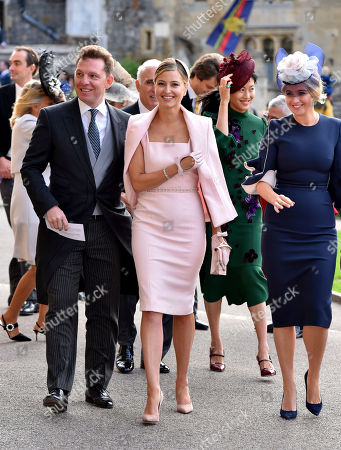 Nick Candy, left, and Holly Candy arrive for the wedding of Princess Eugenie of York and Jack Brooksbank at St George's Chapel, Windsor Castle, near London, England