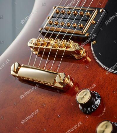 Detail Of The Locktone Tune-o-matic Bridge And Stopbar On An Epiphone Limited Edition Lee Malia Rd Custom Artisan Outfit Electric Guitar