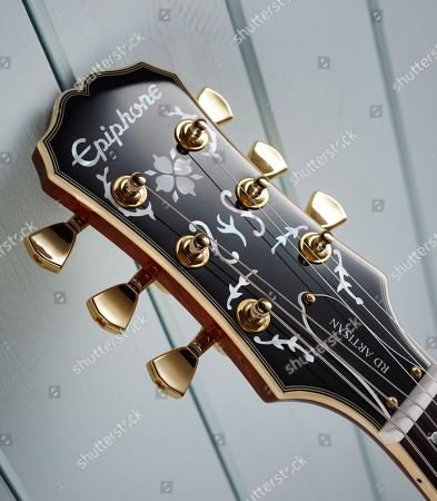 Detail Of The Headstock On An Epiphone Limited Edition Lee Malia Rd Custom Artisan Outfit Electric Guitar