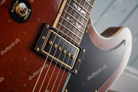Detail Of The Gibson Usa P-94 Single Coil Pickup On An Epiphone Limited Edition Lee Malia Rd Custom Artisan Outfit Electric Guitar