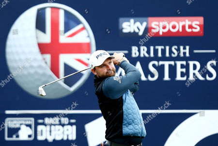 Andy Sullivan of England tees off the 16th hole.