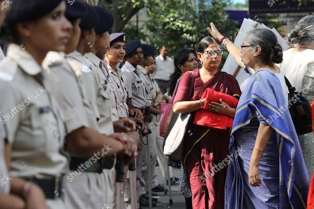 Indian activists from All India Democratic Women's Association shout slogans during a protest against incidents of sexual assault and harassment at work place, in New Delhi, India, 12 October 2018. According to reports, Bollywood actress Tanushree Dutta filed complaint of sexual harassment against actor Nana Patekar. Indian activists from All India Democratic Women's Association show their support #MeToo movement where women sharing incidents of sexual assault and harassment.