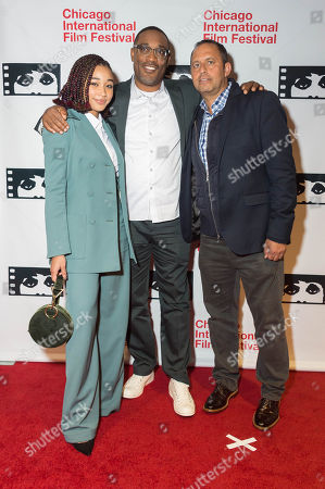 Amandla Stenberg, George Tillman, Jr., and Robert Teitel
