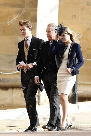 Viscount David Armstrong-Jones and wife Serena Linley with their son Charles