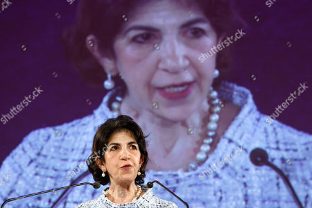 Fabiola Gianotti, Director General of the European Organization for Nuclear Research (CERN), delivers her speech after receiving the doctorate Honoris Causa, during the ceremony Dies Academics of the University of Geneve, in Geneva, Switzerland, 12 October 2018.
