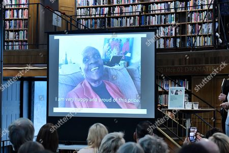 Maryse Conde, author from Guadeloupe living in Paris, is awarded the New Academy's Literature Prize and participates via link at the  announcement at Stockholm City Library, Stockholm, Sweden, 12 October 2018.