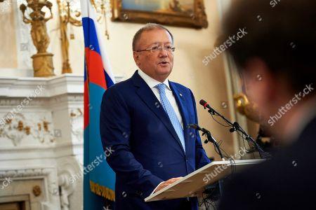 Russian Ambassador to Britain Alexander Yakovenko speaks at a press conference at his residence in central London, Britain, 12 October 2018. Yakovenko denied that Russian Intelligence agency spies had tried to kill former Russian spy Sergei Skripal and added that British-Russian relations are at a very low level.