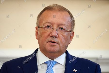 Stock Image of Russian Ambassador to Britain Alexander Yakovenko speaks at a press conference at his residence in central London, Britain, 12 October 2018. Yakovenko denied that Russian Intelligence agency spies had tried to kill former Russian spy Sergei Skripal and added that British-Russian relations are at a very low level.