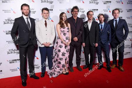 Bill Heck, Harry Melling, Zoe Kazan, Joel Coen, Ethan Coen and Tim Blake Nelson