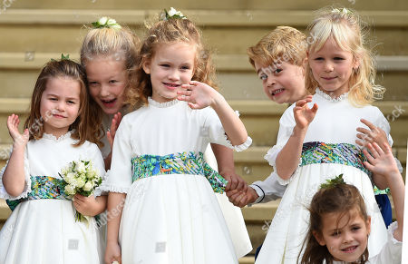 Princess Charlotte, Savannah Phillips, Maud Windsor, Prince George and Mia Grace Tindall at St George's Chapel after the wedding