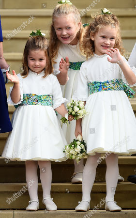 Princess Charlotte, Savannah Phillips and Maud Windsor as bridesmaids at St George's Chapel after the wedding