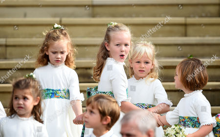 Maud Windsor, Savannah Phillips and Mia Grace Tindall at St George's Chapel after the wedding