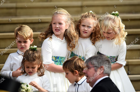 Prince George, Savannah Phillips, Maud Windsor and Mia Grace Tindall at St George's Chapel after the wedding