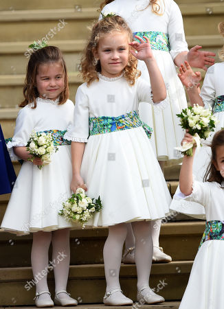 Princess Charlotte and Maud Windsor, bridesmaids leaving St George's Chapel after the wedding