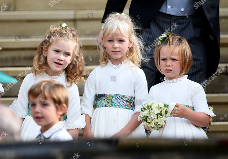 Maud Windsor and Mia Grace Tindall leaving St George's Chapel after the wedding