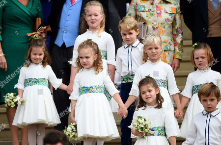 Princess Charlotte, Savannah Phillips, Maud Windsor, Prince George, Mia Grace Tindall, Theodora Williams and Louis de Givenchy at St George's Chapel after the wedding