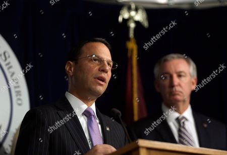 Stock Image of Montgomery County District Attorney Kevin Steele, right, stands beside Pennsylvania Attorney General Josh Shapiro as he speaks at a news conference in Norristown, Pa. Shapiro is appealing to legislators to change state law so that civil cases can be pursued in court in decades-old clergy abuse cases. Shapiro also wants the Legislature to lift the statute of limitations for criminal prosecutions going forward. Steele prosecuted the Bill Cosby case