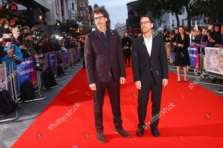 Ethan Cohen, Joel Cohen. Film directors Ethan Cohen, right, and Joel Cohen pose for photographers upon arrival at the premiere of the film 'The Ballad of Buster Scruggs' in London during the London Film Festival