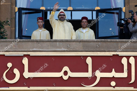 Mohammed VI, Moulay Rachid, Moulay Hassan. Moroccan King Mohammed VI flanked by his brother Prince Moulay Rachid, right, and the Crown Prince Moulay Hassan, left, waves to the crowd as he arrives to the the opening session in the Morocco Parliament in Rabat, on . King Mohamed VI outlined policies for the new parliamentary session
