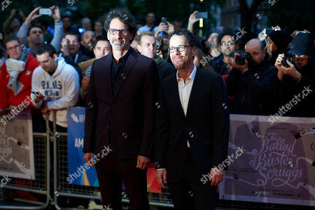 (L-R) Joel Coen and Ethan Coen arrive for the premiere of The Ballad of Buster Scruggs at The BFI London film festival in central London, Britain, 12 October 2018. The festival runs from the 10 to 21 October.