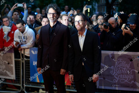(L-R) Joel Coen and Ethan Coen arrive for the premiere of The Ballad of Buster Scruggs at The BFI London film festival in central London, Britain, 12 October 2018.