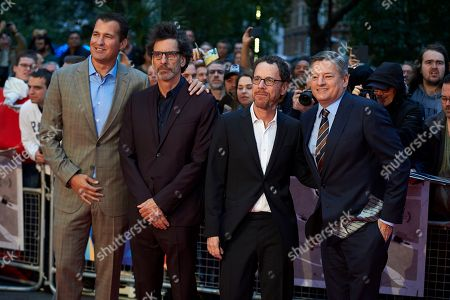 (L-R) US producer producer and head of Original Films at Netflix, Scott Stuber, Joel Coen, Ethan Coen & US Businessman and chief content officer for Netflix, Ted Sarandos arrive for the premiere of The Ballad of Buster Scruggs at The BFI London film festival in central London, Britain, 12 October 2018.