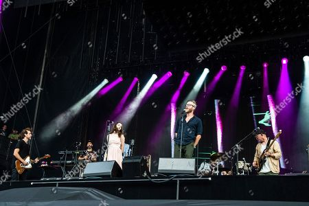 Aaron Dessner, Matt Berninger, Lauren Mayberry. Aaron Dessner, from left, Lauren Mayberry of Chvrches and Matt Berninger of The National performs on day one of the Austin City Limits Music Festival's second weekend, in Austin, Texas