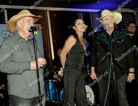 Stock Image of The Bellamy Brothers - David Bellamy and Howard Bellamy with Singer/Songwriter Gretchen Wilson (center)