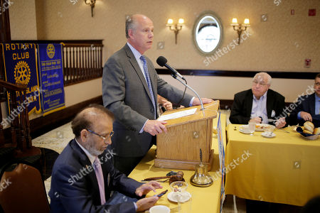 Republican congressman Dan Donovan talks to members of the Rotary Club in Staten Island, New York