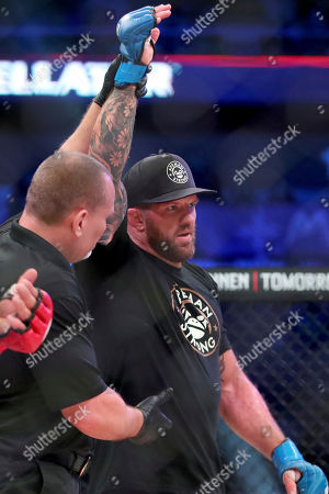 Stock Picture of Ryan Bader is declared the winner over Matt Mitrione after a heavyweight mixed martial arts bout at Bellator 207, in Uncasville, CT, on . Bader won via unanimous decision