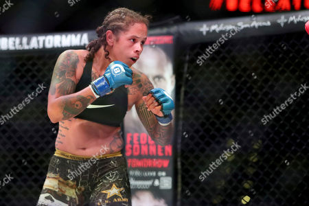 Sarah Click pursues Kristi Lopez during a mixed martial arts bout at Bellator 207, in Uncasville, CT, on . Click won via decision